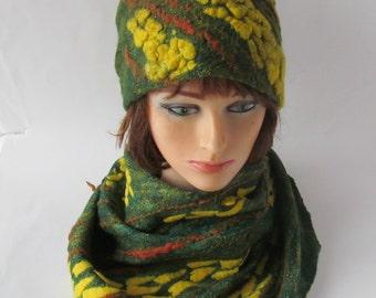 Felted hat, Green Yellow wool hat, Felt winter warm hat, Wool Hat Unisex, Warm felt hat Green Yellow felted hat