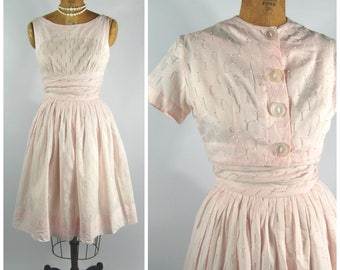 Late 1950s Pink Cotton Dress and bolero // Textured Cotton - Sleeveless Summer Dress