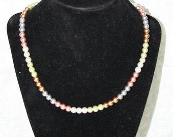 Multi-Colored Glass Pearl Strand Necklace