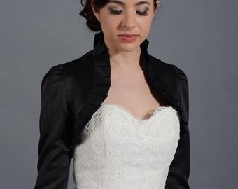 Wedding bolero, black bolero, satin bolero, 3/4 sleeve bolero, satin wedding bolero, bolero jacket, bridal shrug, bridal jacket