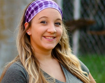 Tie Dye Headband, Purple Hair Band, Wide Sports Headband, Bad Hair Day Bandana, Purple Hippie Hair Band (#1018) S M L X