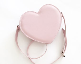 Pastel Pink Heart Faux Leather Crossbody Bag (Handmade to order)