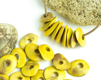 10 Ceramic Cornflake Beads Mykonos Greek Stone washed yellow goldenrod Chips spacer 13mm Earthy Matte jewelry making supplies DIY