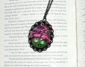Clearance Zombie undead cupcake cameo pendant necklace. bitten cupcake. adjustable black color chain. walking dead.