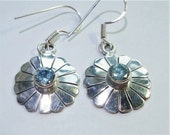 Blue Topaz Daisy Earrings in Solid Sterling Faceted Round Blue Topaz Gemstones Mounted on Sterling Silver Daisy Earrings