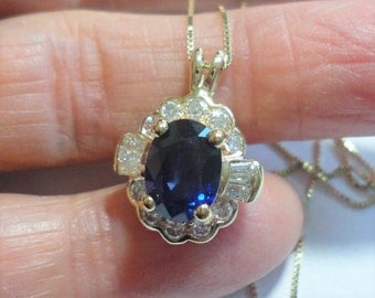 """Sapphire Pendant in Solid 18k Gold Untreated Natural Genuine 2.53 ct Blue Sapphire Jewel and .41 ct tw Diamonds on 18"""" 14k Gold Box Chain"""