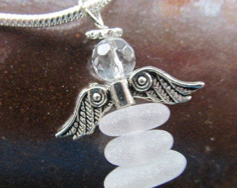 Angel Pendant, Angel Necklace, Beach Glass Necklace, Sea Glass Pendant, Angel Jewelry, Silver Wings Angel, Angel Gift