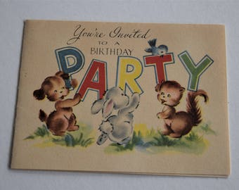Vintage BIRTHDAY PARTY INVITATION Card Invite Bunny Rabbit Squirrel Puppy Dog 1950s Children Child Forget Me Not Greeting Juvenile Kid Bird