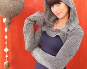 NEW- The Black and Gray Striped Sweater Knit Hooded Shrug by Opal Moon Designs (size S-XXL)