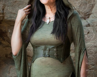 "NEW: The ""Faux"" Vegan Leather Underbust Vest/Harness w/DETACHABLE Pixie Hood in Olive Green or Brown by Opal Moon Designs (Size S-XXL)"