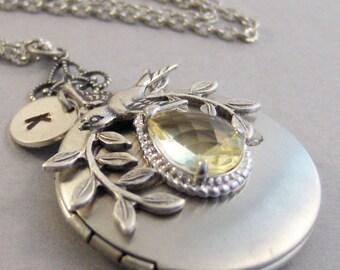 Sparrow's Topaz,Topaz Necklace,Topaz Locket,Yellow Necklace,Yellow Locket,Yellow Necklace,November Birthstone,Novemeber,Valleygirldesigns
