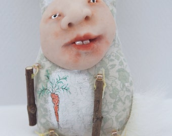 Folk Art Doll Ornament cloth clay hand stitching spring rabbit easter bunny #3