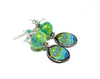 Blue Green Lampwork Bead Earrings. Artisan Painted Charms. Small Dangle Earrings. Boho Beachy Earrings. Cottage Chic. Glass Bead Jewelry.