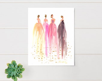 Fashion Illustration Print - Fashion Sketch - Watercolor - Reflection - Home Decor - Couture - Runway - Floral Print - by Rhian Awni on Etsy