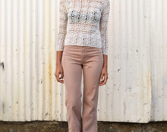 Vintage Crochet 1960's Cream Open Knit Cotton Bohemian Pullover Sweater Top S