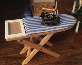 Miniature Wood Ironing Board & Old Fashioned Open Iron, Dollhouse Miniature, 1:12 Scale, Fabric Covered Board With Iron, Dollhouse Accessory