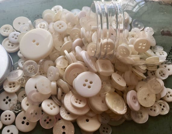 "Hand Dyed Buttons, ""Antique White"", Mixed Buttons, 200 Buttons, Plastic Mini Mason Jar by Buttons Galore, 2 & 4 Hole Assortment"