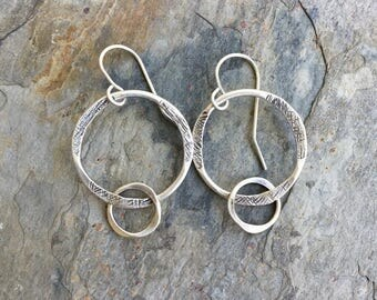 Sterling Silver Ring Earrings for Pierced Ears. Handmade Jewelry for Charity. ES34