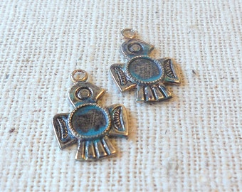 Hand Faux Dark Verdigris Patina Brass Thunderbird Charms (4) Southwest, Tribal, Nature