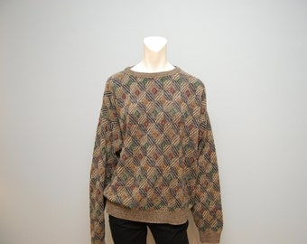 Vintage 1990's Men's Geometric Diamond Patterned Sweater - Size XL