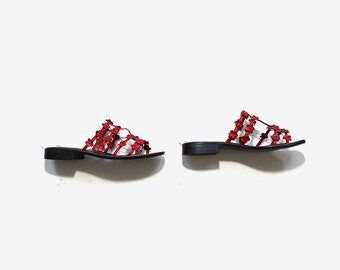 SALE Vintage Leather Slides 6 / Red Leather Sandals / Slip On Sandals / Strappy Sandals