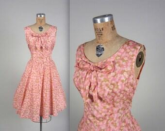 1950s silk floral dress • vintage 50s dress • bow day dress