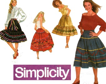 Simplicity 5292 Womens Flared or Tiered Peasant Skirts 80s Vintage Sewing Pattern Sizes Petite Small Medium Large