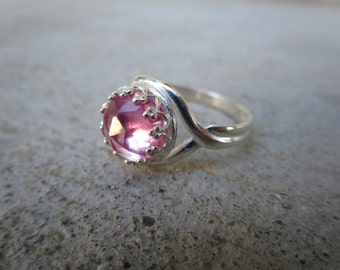 Pink Sapphire Ring in Sterling Silver SIZE 6