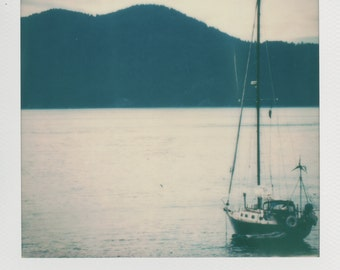 San Juan Islands Sailboat Instant Photography - Decorate with a vintage feel - Free Domestic Shipping