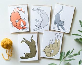 Yoga Cats Letterpress Greeting Card