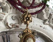 garnet beauty - vintage cameo necklace with gemstones victorian revival, by the french circus