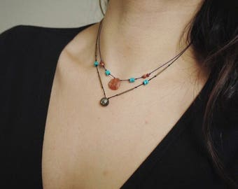 W A R R I O R // Hand knotted silk & sunstone choker necklace