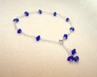 Sea Glass Anklet for Women Cobalt Blue Adjustable Size Silver Chain Body Jewelry Dark Blue Beach Glass Ankle Bracelet Unique Gifts for Her