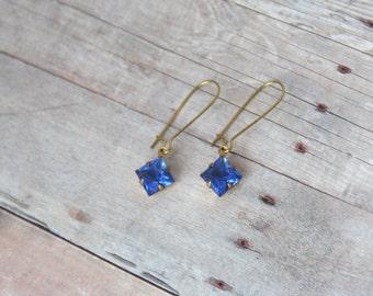 O C E A N - Vintage Sapphire Jewel, Gold Dangle Earrings