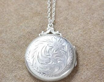 Birks Sterling Silver Locket Necklace, Large Round Vintage Sterling Floral Swirl Engraved Pendant - Nostalgia