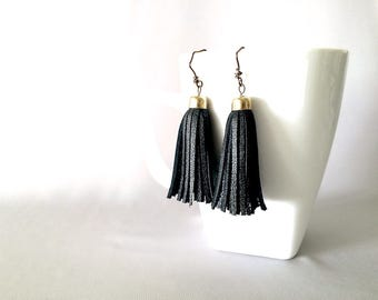Delicate Mini Tassel Earrings in Black Leather with Gold Tone Bead Caps and Ear Hooks