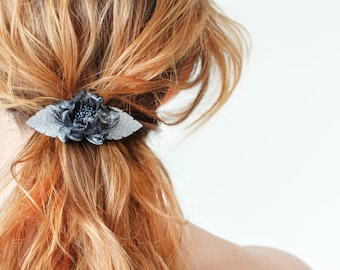 Grey flower small french barrette, metallic leather flower, hair clip, boho, unique gift for her,