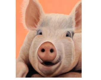 Pig Magnet - Big Pig Art - Funny Animal Magnet - Proceeds Benefits Animal Charity