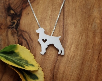 Brittany Spaniel necklace, tiny sterling silver hand cut pendant with heart, tiny dog breed jewelry