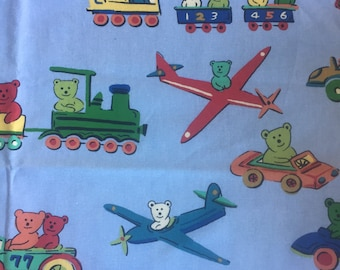Braemore Textiles Airplane and cars on blue background. Bear pilot in train and plane. Cotton fabric Yardage