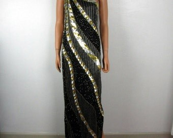 Vintage 1980s Beaded and Sequin Black and Gold Maxi Evening Gown
