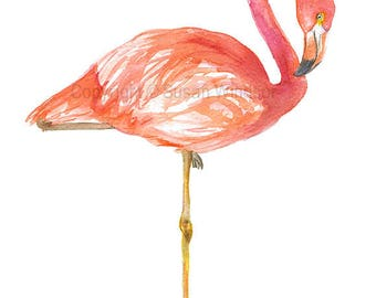 Flamingo Watercolor Painting Tropical Bird Giclee Print 8 x 10 (8.5 x 11)