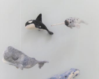 Baby Mobile, Needle Felted Whales, crib mobile, nursery decor