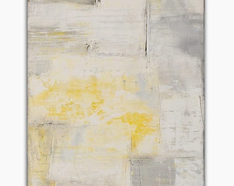 48x24 canvas Abstract Textures Painting gray and yellow by Erin Ashley