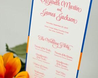 Large, Double-Sided, Ribbon-Banded Ceremony Program Card