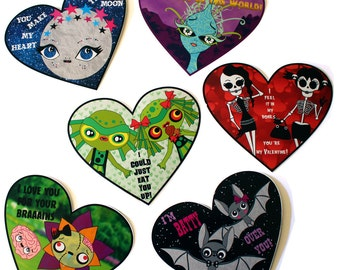 Set of 6 spooky cute Valentines die cut paper hearts - alien skull moon skeleton bats zombie the creature from the black lagoon