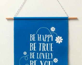 canvas banner wall hanging - be happy