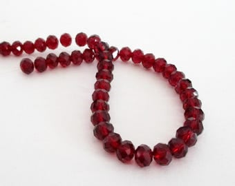 Red Crystal Beads - Faceted Crystal Rondelle Beads - Red Marsala Beads - 8mm Glass Round - (40) Pcs - Diy Bridal Jewelry Beading