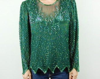Green Sequined and Beaded Long-Sleeve Top || Denise Elle