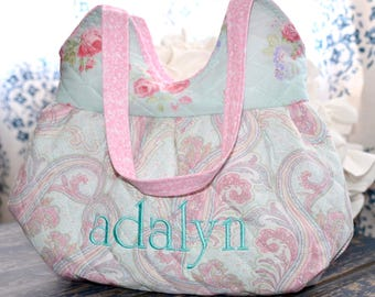 Little Girls Purse ~ Quilted, Lined, Girly and Sweet ~ Personalization Option  ~ Shabby Chic